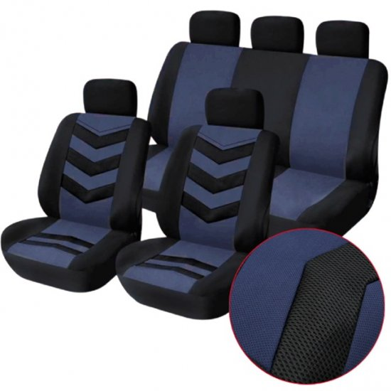 1set 9in1 Navy Blue Universal Car Seat Covers Full Set Car S1